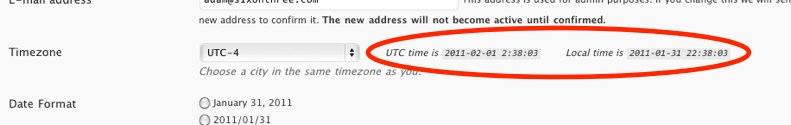 WordPress Time Settings